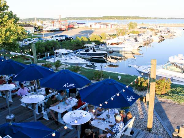 ariel view of patio dining and marina